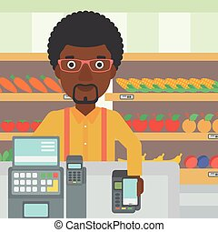 Customer paying wireless with smartphone - An...