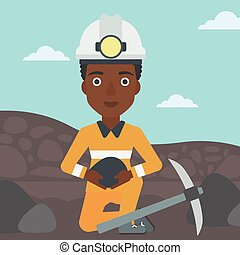 Miner holding coal in hands vector illustration - An...