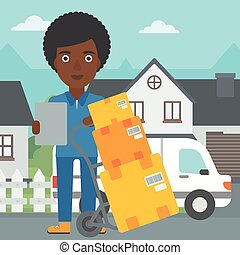 Delivery woman with cardboard boxes. - An african-american...