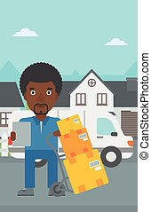 Delivery man with cardboard boxes - An african-american...