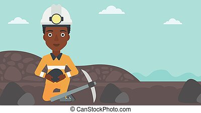 Miner holding coal in hands vector illustration. - An...