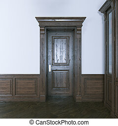 Luxurious classic wooden interior door. 3d render.
