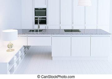 White hi-tech kitchen interior design 3d render