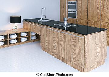 Hi-tech kitchen interior design with white flooring 3d render