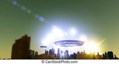 unidentified flying objects over a famous city