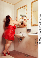Cleaning Lady - Big and beautiful woman is cleaning