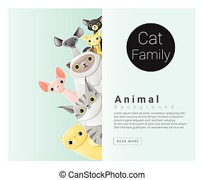 Cute animal family background with Cats 2