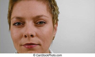 Face portrait of short hair blond woman - Portrait of pretty...