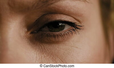 Female eye closeup slow motion - Female womans eye closeup...