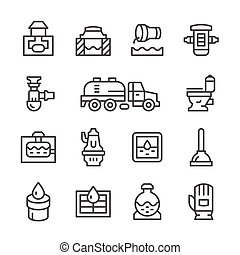 Set line icons of sewerage isolated on white. Vector...