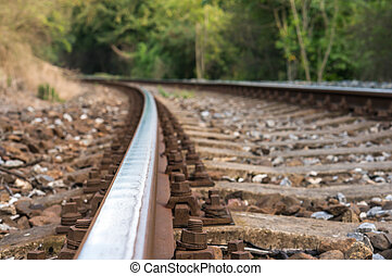 Blurred railway track on the stone background