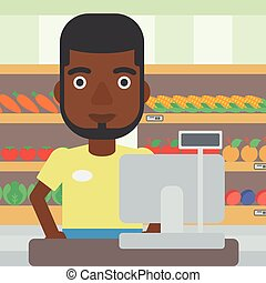 Cashier standing at the checkout in supermarket. - An...