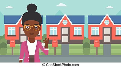 Real estate agent with key vector illustration. - Young...