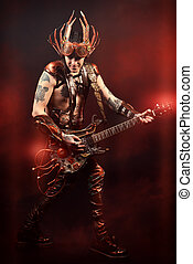 electric guitar - Rock musician in a steampunk costume...