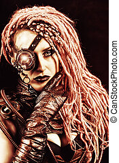 grunge steampunk - Portrait of an attractive steampunk woman...