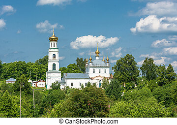 View of the Transfiguration Church in the town of Shuya,...