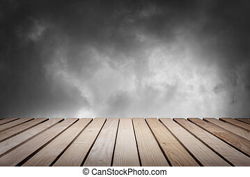 Wood platform and sky - Wood platform and cloudy dark...
