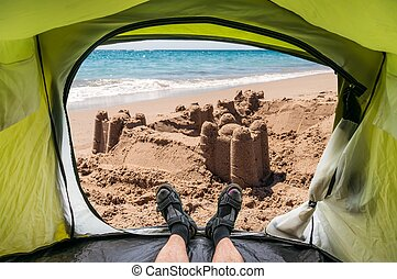 View from inside a tent on the sand castle