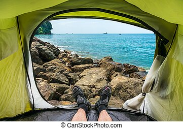 View from inside a tent on the Black Sea Coast