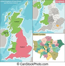 Map of Greater London - Map of the subdivisions of England...