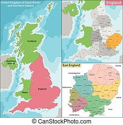 Map of East England - Map of the subdivisions of England...