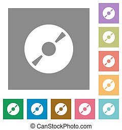 DVD disk square flat icons - DVD disk flat icon set on color...