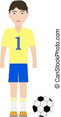 Vector illustration of a boy soccer player with a soccer...