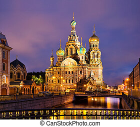 Cathedral of Savior on Spilled Blood in St Petersburg,...