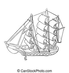 Vector sketch of ship model.