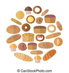 Bakery and pastry products icons set with various sorts of bread, sweet buns, cupcakes, dough  cakes