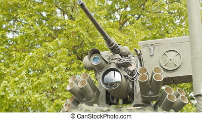 Close up view of the turret, armaments and gun. - Close up...