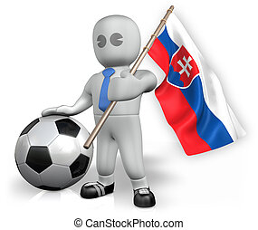 A Slovakia football fan with a flag and a ball in South...