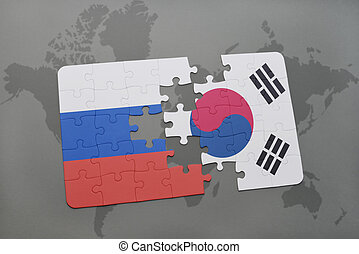 puzzle with the national flag of russia and south korea on a...
