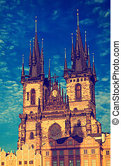 Church of Our Lady before Tyn in Prague city, travel...