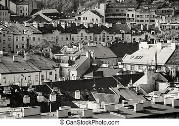 View to the Vysegrad - View to the colorful roofs and houses...