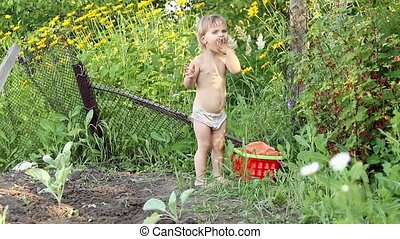 Child is eating red currants - Little kid in shorts,...