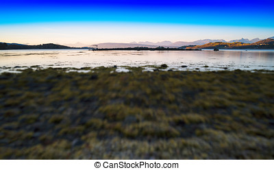 Horizontal vivid wide Norway landscape toy abstraction...