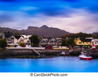 Horizontal vibrant vivid Norway small town background...