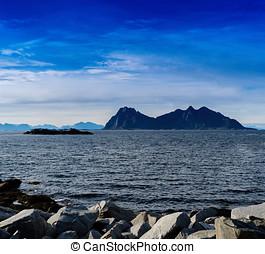 Square vivid Norway rocks fjords mountains landscape...