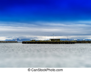 Horizontal vivid Norway toy pier quay building background...