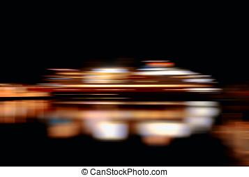 Horizontal vibrant vivid moving ship abstraction background...