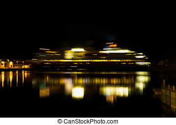 Horizontal rotating Norway night light ship abstraction...