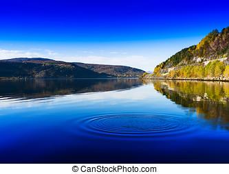 Horizontal vivid Norway day river water circles drops...
