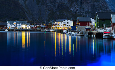 Horizontal vivid evening Norway town light reflections...