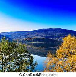 Horizontal vivid autumn in Norway background backdrop