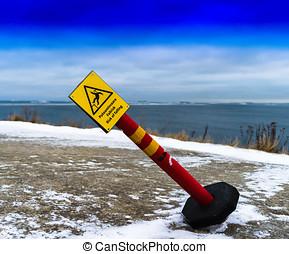 Horizontal vivid tilted risk of falling sign background...
