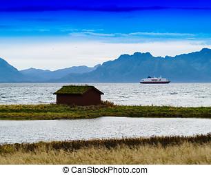 Horizontal vivid Norway house ship landscape background...
