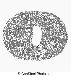 Number zero. Decorative font with a paisley zen doodle...
