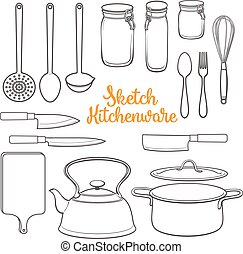Set of isolated kitchenware and cutlery sketch style vector...