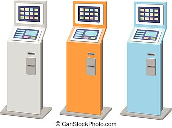 Payment terminals set isolated stationary kiosk for...